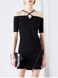 Stylish Cold Shoulder Strappy Slit Dress For Women (BLACK,S) | Sammydress.com Mobile