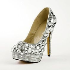 Wedding Shoes - $99.99 - Rubber Stiletto Heel Pumps Platform Closed Toe With Rhinestone shoes  http://www.dressfirst.com/Rubber-Stiletto-Heel-Pumps-Platform-Closed-Toe-With-Rhinestone-Shoes-085026505-g26505