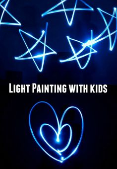 How to do light painting with kids- Easy and unique way to make art at night! Use camera with long exposure and a tripod.