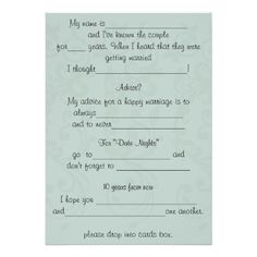funny wedding advice comment advice card