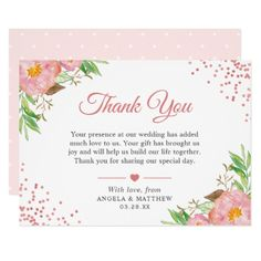 Botanical Blush Pink Floral Dots Wedding Thank You Card - invitations custom unique diy personalize occasions