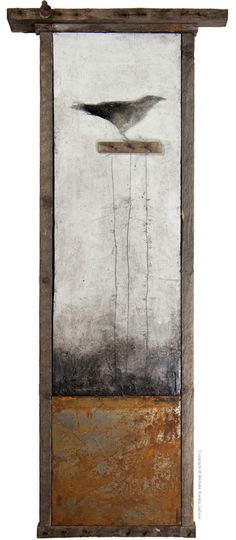 Michele Renée Ledoux - Keeper of Secrets - mixed media, encaustic (beeswax + damar resin), recycled materials and found object framework