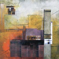 Oil/cold wax/collage Ginny Herzog