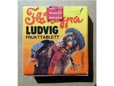 Tablettask (tom och lite kantstött) Mazetti 1970-1980-tal, motiv Flåklypa Ludvig