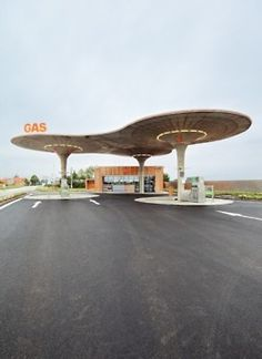 1960s - Atomic Era Gas Station - space design, mid century modern http://designeast.eu/2012/07/gas-station-by-atelier-sad-slovakia/