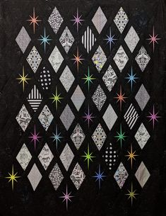 Twin Quilt Pattern, Paper Pieced Quilt Patterns, Amish Quilt Patterns, Purple Quilts, Colorful Quilts, Black And White Quilts, Black Quilt, Tula Pink Fabric, Foundation Paper Piecing