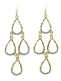 Gold Hammered Multi-Drop Earrings from Helen's Jewels