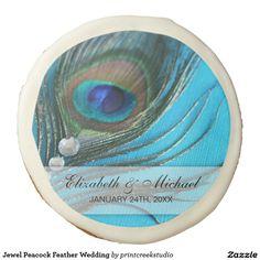 Jewel Peacock Feather Wedding Sugar Cookie