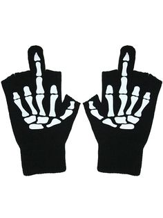 """Glow in the Dark """"Up Yours"""" Fingerless Gloves by Too Fast Apparel (Black)"""
