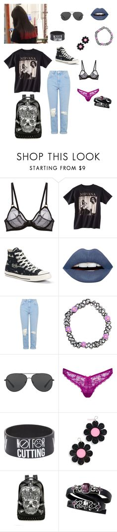 """""""Untitled #507"""" by caitdallon ❤ liked on Polyvore featuring L'Agent By Agent Provocateur, Nirvana, Converse, LunatiCK Cosmetic Labs, Topshop, Michael Kors, Hot Topic and Marina Fini"""