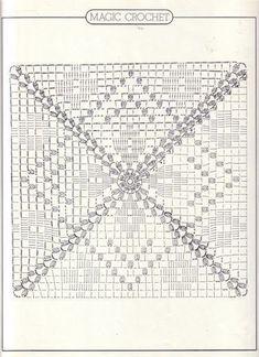 Magic Crochet nº 17 - leila tkd - Picasa Web AlbümleriThis Pin was discovered by est Crochet Bedspread Pattern, Crochet Motifs, Granny Square Crochet Pattern, Crochet Blocks, Crochet Diagram, Crochet Chart, Crochet Squares, Crochet Blanket Patterns, Crochet Doilies