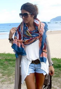 a colourful scarf with plain white or black tshirt and neutral shorts for a pulled together sort of chic
