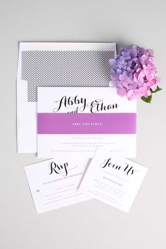 Romantic Calligraphy Wedding Invitations with a Black and White Crosshatch Envelope Liner and Orchid Purple Belly Band