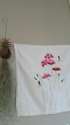 거즈 아이보리 손수건 : 네이버 블로그 One Stroke Painting, Fabric Painting, Fabric Art, Hand Painted Fabric, Color Magic, Chinese Painting, Embroidery Applique, Printing On Fabric, Tapestry