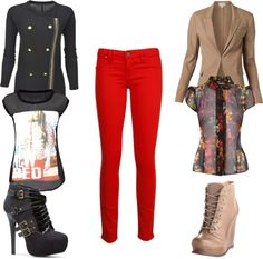 """Rock Those Chic Red Jeans"" by rikasfashionbox on Polyvore"