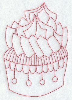Cupcake 7 (Redwork) design (G9108) from www.Emblibrary.com