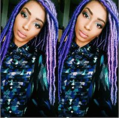 Pastel Faux Locs with shades of purple