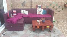 I originally wanted the rattan corner sofa but couldn't afford it so I made this from 13 pallets I got …