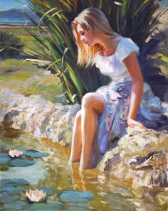 "Vladimir Volegov ""Water lilies"" painting of girl as she gazes at water lillies floating gracefully on the surface of a glassy pond~serene calm and beautiful painting Art Et Illustration, Illustrations, Water Lilies Painting, Poppies Painting, Lily Painting, Rain Painting, Woman Painting, Beauty In Art, Painting People"