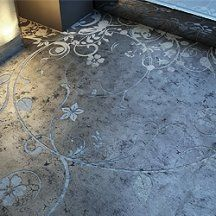 concrete stencil, stamps and stain pictures