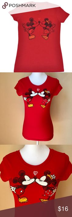 "Disney | The Smooch tee Disney ""The Smooch"" t-shirt!  •D E T A I L S•  Size: Small Brand: Disney Color: Red Bust: 15"" laid flat Length: 25"" Material: 100% Cotton Description: ""The Smooch"" tee features Mickey and Minnie Mouse kissing and expressing their love! Red short sleeve t-shirt is fitted and has stretch to it. Goes perfectly with jeans or shorts. Officially licensed Disney tee. In excellent condition! Disney Tops Tees - Short Sleeve"