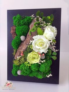 Image may contain: flower Rustic Flower Arrangements, Rustic Flowers, Dried Flowers, Moss Wall Art, Moss Art, Flower Wall Decor, Wall Art Decor, Nature Crafts, Fun Crafts