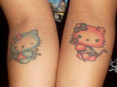 Angel And Devil Hello Kitty Tattoos - Tattoospedia Dope Tattoos, Funny Tattoos, Body Art Tattoos, Girl Tattoos, Tatoos, Tattoo Ink, Angel Devil Tattoo, Angel And Devil, Hello Kitty Tattoos
