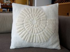 White embossed cushion cover pillow cover organic by FilzFineFelt