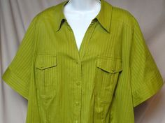 Lane Bryant Size 24 Tailored Button Short Sleeve Collar Green Striped Top New! #LaneBryant #Blouse #Career