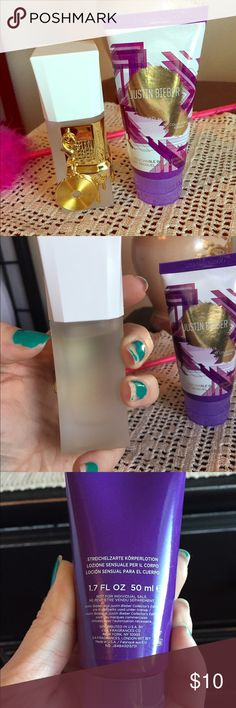 Justin Bieber Perfume & Lotion Fresh/sweet scent. Perfume is 95% full. Lotion is a shimmer lotion and is 1.7 fl oz, about 90% full. Justin Bieber Other