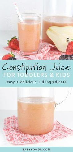 This homemade constipation juice is the perfect natural constipation remedy for both toddlers and older kids alike - no juicer required! This healthy juice is made in the blender with fresh pears, strawberries, prunes and a touch of honey. It's a homemade Healthy Juices, Healthy Drinks, Healthy Snacks, Healthy Recipes, Detox Juices, Nutrition Drinks, Blender Recipes, Fruit Drinks, Fruit Snacks