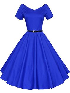 LUOUSE 40s 50s 60s Vintage V-neck Swing Rockabilly Pinup Ball Gown Party Dress,Large,Blue