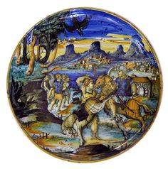 Ruggiero affronta il servo di Alcina, maiolica, 1550 circa (dal Museo d'Arte Medievale e Moderna di Arezzo)