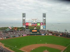 AT & T Park with a view of the bay.