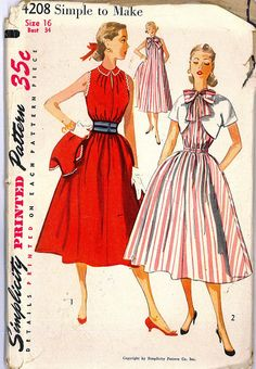 RESERVED FOR ANGEL - 1950s Rockabilly Swing Chemise Sleeveless Dress, Jacket and Belt Vintage Sewing Pattern Simplicity 4208 Bust 34