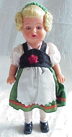 Vintage plastic German doll, made in West Germany, in traditional costume