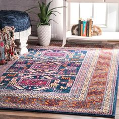 nuLOOM Bohemian Tribal Navy Rug (8' x 10') | Overstock.com Shopping - The Best Deals on 7x9 - 10x14 Rugs