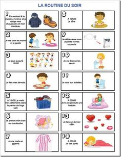 La routine du soir www. French Lessons, Teaching French, Google Classroom, Learn French, Kids Education, Kids And Parenting, Diy For Kids, Activities For Kids, Preschool