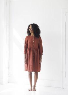 Beaton Linen Long Sleeve Gather Dress - Sienna | Garmentory