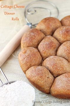 Cottage cheese whole wheat dinner rolls ~ soft, fluffy, slightly salty from the cheese with a buttery crust