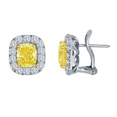 SES Creations Yellow Cushion & Diamond Pave Frame Earrings