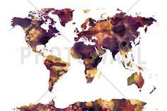 Watercolor World Map Purple - Fototapeter