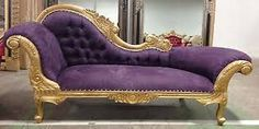 """Queen Anne"" French Orleans Silver Trimmed Purple Velvet Louis XVI Baroque Recamier Chaise Lounge Wedding Sofa"
