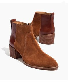Madewell The Asher Suede & Leather Ankle Boot Studded Heels, Pull On Boots, Fall Shoes, Short Boots, Buy Shoes, Women's Pumps, Leather Shoes, Suede Leather, Bootie Boots