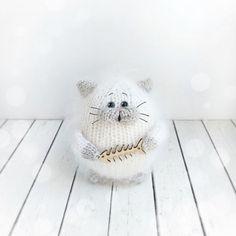 Items similar to White fluffy cat Amigurumi cat handmade White cat Miniature kitten hand knitted Kitten Amigurumi knitted cat Doll cat Birthday gift on Etsy Stuffed Animals, Stuffed Animal Patterns, Rabbit Toys, Bunny Toys, Cat Lover Gifts, Cat Lovers, Cat Litter Mat, Fox Toys, Cat Amigurumi