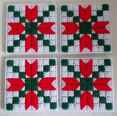 Christmas Coasters Plastic Canvas Holiday by KarensCrochetCottage