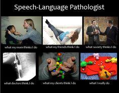Speech Pathologist, what people think I do