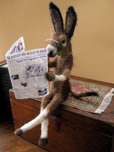 Burro Donkey Mule handmade doll - brown grey needle felted alpaca wool - reading an Italian newspaper.