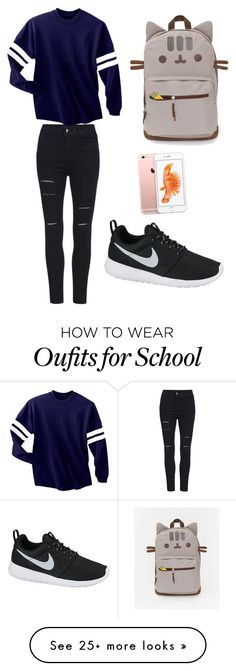 """school "" by xkristinex on Polyvore featuring moda y NIKE"