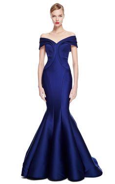 Zac Posen Woman Bow-detailed Ruffled Duchesse Silk-satin Gown Royal Blue Size 10 Zac Posen ZtI36NT
